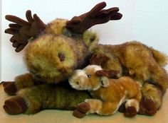 Moose Mama and Baby Calf Plush North American Wildlife