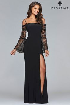 Front Image Of Black Long Jersey Dress With Beaded Bell Sleeves 91acf3e9d