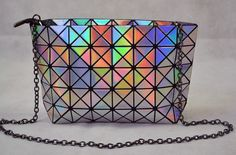 Laser color Plaid Women Messenger clutch Shoulder Chain bag #Handmade #MessengerCrossBody