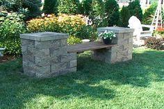 Garden Bench #2: Neat 'n Tidy Stone Block Garden Bench with Wooden Seat. blocked_garden_bench