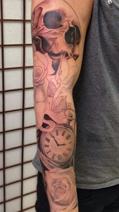 Roses & clock tattoo