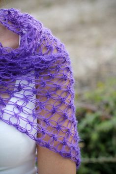 hand made crochet purple mohair shawl or wrap (P)