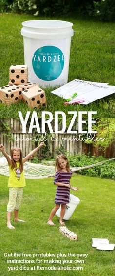 Yardzee is a fun easy summer yard game for the whole family. Easy to make a set for your own family or to give as a gift, especially with these free printables! #craftywithCanon