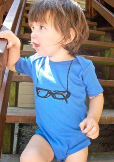 cute screen printed onesie eyeglasses on a chain