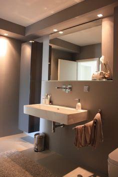 Waschbecken und Lackhängeschrank, Tags Badezimmer Waschtisch Lackschrank grau weiß