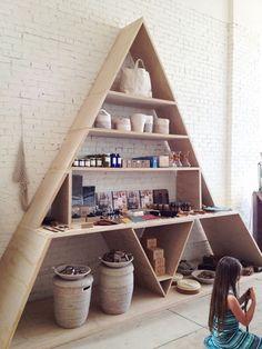 Geometric shelving at The General Store General Store SF Geometric shelf: design sponge A- Frame shelf via pinterest I am ...