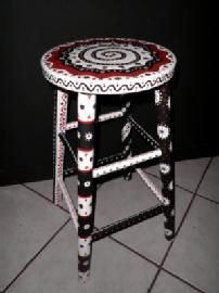 Painted Stool (Black White Red)