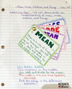 Mean, median, mode, and range for upper elementary students.  Math notebook idea.