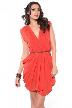Deep V Cut Draped & Belt Sleeveless Dress in Orange