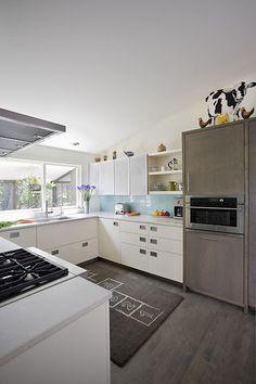 Remodeled white kitchen in mid-century rambler
