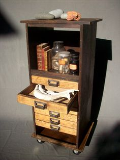 Collectors 7 Drawer Wood Cabinet with Steel Wheels / Urban Archeologist / Curiosities Storage / Book Shelf