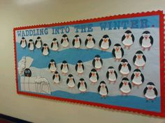Penguin bulletin board! Waddle you do this winter break?