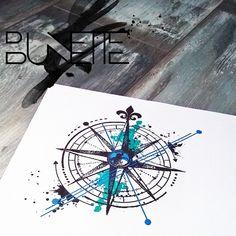 Compass abstract trash polka watercolour tattoo geometric bunette