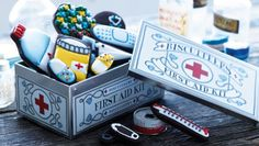 First aid kit biscuits and tin- because the tin would make a great place to stash bandaids and salves.