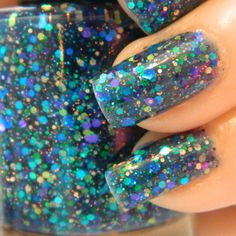 Shipwreck Nail Polish - Custom Blended Blue Green Glitter Nail Lacquer- 0.5 oz Full Sized Bottle. $8.50, via Etsy.