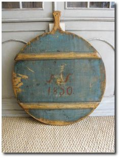 1850 19th century cutting board blue paint