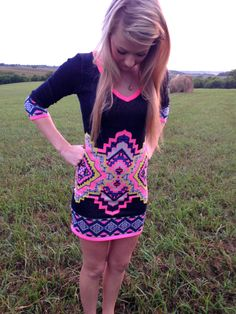 Mini Aztec Sweater Dress- Super cute!! Nice warm fabric perfect for fall and winter! $39 with free shipping. Head to www.thepulseboutique.com