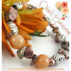 Bracelet Handmade Beaded Bangle Zebra stone chip Peach Aventurine. Simple and rich handmade beaded bracelet is set with zebra stone chips, peach Aventurine gemstones and detailed metal flower beads. This is a rich combination of earth tone browns, copper and peach. Zebra stone is intricate and extremely rich with a spotted like grain of black, peach, rose, brown, copper and gray.