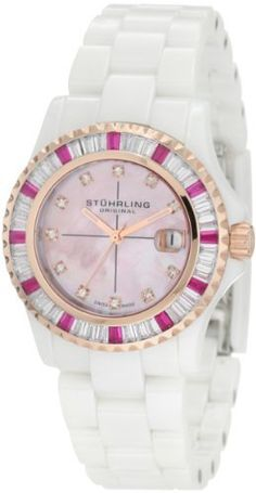 Stuhrling Original Women's 273S.12EP9 Leisure Aurora Swiss Quartz Date Swarovski Bezel Pink Mother-Of-Pearl Dial Ceramic White Watch Stuhrling Original. Save 70 Off!. $289.00. Pink mother of pearl dial with swarovski crystal markers. Genuine sapphire crystal with date magnification at three o'clock position. Water-resistant to 100 m (330 feet). White ceramic tonneau shaped case and rosegold plated coin edged unidirectional ratcheting bezel with swarovski crystal accents. Whit...