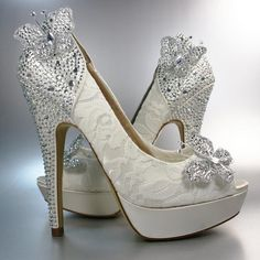 f54fc0ce403f70 Wedding Shoes -- Ivory Platform Peep Toe with Ivory Lace overlay and  Rhinestone Covered Butterflies