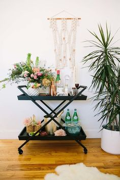 Bar cart two ways, with Crate and Barrel