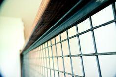 wire mesh handrail - rustic industrial