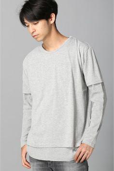SUNアンサンブルTシャツ ロングスリーブ  SUNアンサンブルTシャツ ロングスリーブ 3132 NOBLEPRODUCT(ノーブルプロダクト)のTシャツとワッフル生地の長袖シャツのアンサンブル シンプルな無地だからできるごちゃごちゃしない立体的なライン 半袖Tシャツも長袖シャツも同色ですが長袖シャツがワッフル生地なので退屈なコーデにもなりません このアンサンブルにアクセントで小物を一つプラスするだけでもこなれ感が出ます モデルサイズ:身長:185cm バスト:83cm ウェスト:72cm ヒップ:93cm 着用サイズ:M