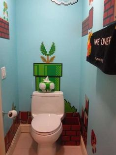 Wicked Gamer Washrooms - The Super Mario Bros Bathroom is a Tribute to the Little Plumber (GALLERY)