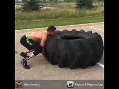Tire Flipping Amputee, Crossfit workout, Adaptive Athlete