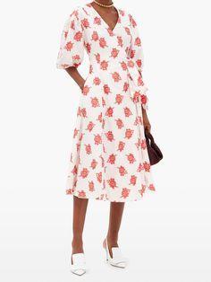 Marguerite balloon-sleeve rose fil coupé dress | Erdem | MATCHESFASHION UK Erdem, Slingback Pump, Grosgrain, Balloons, Wrap Dress, Shirt Dress, My Style, Sleeves