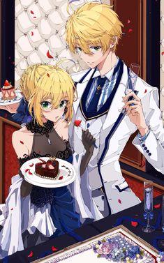 Artoria and Arthur Pendragon Fate Stay Night Prototype Grand Order Anime Siblings, Anime Couples, Fate Zero, Anime Love, Anime Guys, Kawaii Anime, Character Art, Character Design, Fate Stay Night Series