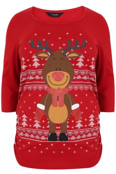 Red Reindeer 3/4 Sleeve Cotton Top With Ruched Side Detail Plus size 16,18,20,22,24,26,28,30,32,34,3