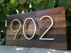 Hand made reclaimed wood home address plaque w/ 4 numbers - Etsy ($90... or $100 for offset numbers)