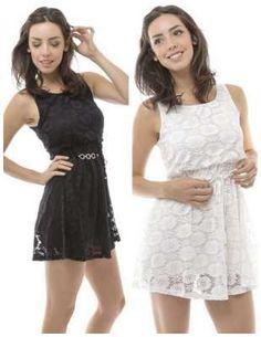Cute little dress! Women's Sleeveless Elastic Waist Lace Dress with Leatherette Belt