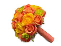 Silk Bridal Wedding Bouquet with Tropicana Roses and Yellow Ranunculus