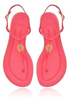 TORY BURCH  EMMY Neon Pink Leather Sandals