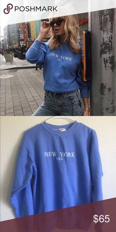 Brandy Melville blue Erica NY sweatshirt NWT Brandy Melville Tops Sweatshirts & Hoodies