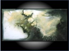 Original Painting Large 36 Olive Green Modern by RenaeSchoeffelArt, $250.00
