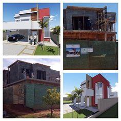 Residência AA, projeto de fachada e interiores!!   Fachada vermelha #fachadavermelha #swisspark #obra #interiores #vermelho