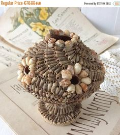 SUMMER SALES Ancient seashell art vase 1900's,style rocaille vase,French Vintage seashell vase Nautical Decor.Vintage beach souvenir Collect by frenchvintagebazaar on Etsy