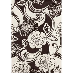Red Barrel Studio Medford Floral Black/White Area Rug Rug Size: 7' x 10'