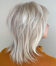 60 Best Variations of a Medium Shag Haircut for Your Distinctive Style Silver white Wispy hairstyle Medium Layered Hair, Medium Hair Cuts, Short Hair Cuts, Medium Hair Styles, Short Hair Styles, Medium Shag Haircuts, Short Shag Hairstyles, Haircut Medium, Popular Hairstyles