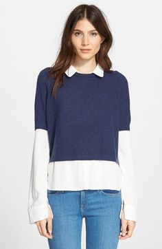Like layered look Joie 'Thevenette' Crop Wool & Cashmere Sweater available at #Nordstrom