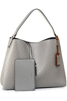 (This is an affiliate pin) Emporio Armani Leather Effect Shoulder Bag in Gray Navy and Brown Combo Luxury Handbags, Fashion Handbags, Navy And Brown, Large Shoulder Bags, Shoulder Handbags, Handbag Accessories, Emporio Armani, Louis Vuitton Damier, Pouch