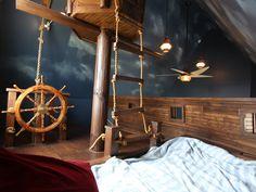 Kinderhochbett Hängebrücke Steuer-Piratenbett-Kinderzimmer