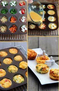 ONTBIJTIDEE ZONDAGMORGEN  Meng 7 eitjes met 2 eetlepels melk en zout/peper.  Iedereen vult zijn/haar eigen muffinbakje met groente, kaas, spekjes, kip, ham etc.  Giet het eimengsel erover. 15-20 min op 180 graden in de oven.  Lekker smullen
