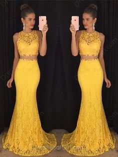 2016 Custom Charming Yellow Lace Two Pieces Long Prom Dress,Sexy Sleeveless Evening Dress,Sexy See Through Prom Dress,300