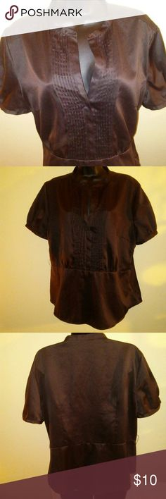 Women's Chocolate Brown Satin like Top Large pre-owned Excellent condition  soft satin like feel Tops Blouses