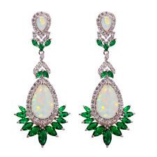 White Fire Opal Emerald Zircon Silver Women Jewelry Gemston Stud Earrings OH3712
