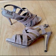 Nude suede leather strappy  high heel sandals 7.5M Excellent condition. Worn once. Basically new. Bandolino Shoes Heels
